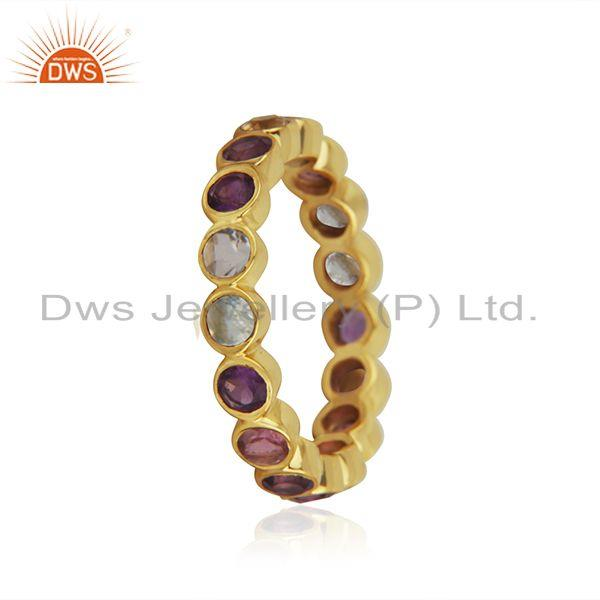 Exporter Citirine and Amethyst Gemstone Gold Plated 925 Silver Band Rings