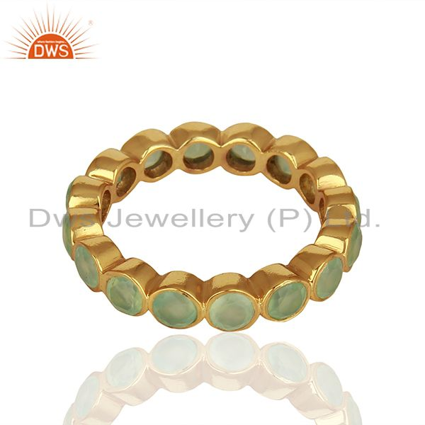 Exporter Designer Aqua Chalcedony Gemstone Gold Plated 925 Silver Band Ring