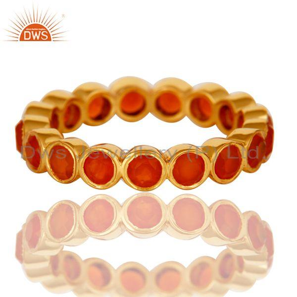 Wholesalers 18K Gold Plated Sterling Silver Carnelian Ring Gemstone Band