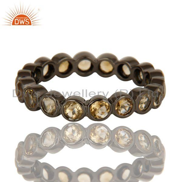 Exporter Natural Citrine Gemstone Sterling Silver Eternity Ring With Black Rhodium Plated