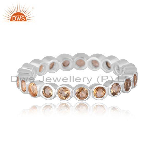 Citrine set fine 925 sterling silver classic band type ring