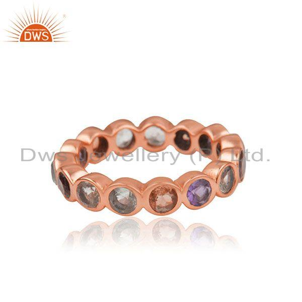 Exporter Citrine Amethyst Gemstone Rose Gold Plated Silver Band Ring Jewelry
