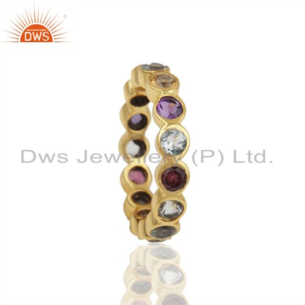 Exporter Natural Multi Gemstone Solid 925 Silver Gold Plated Wedding Band Rings