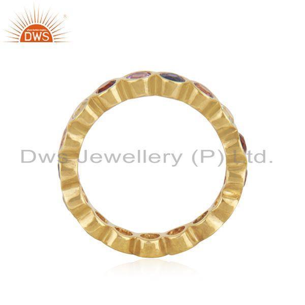 Exporter Multi Color Stone Yellow Gold Plated Silver Band Ring Jewelry