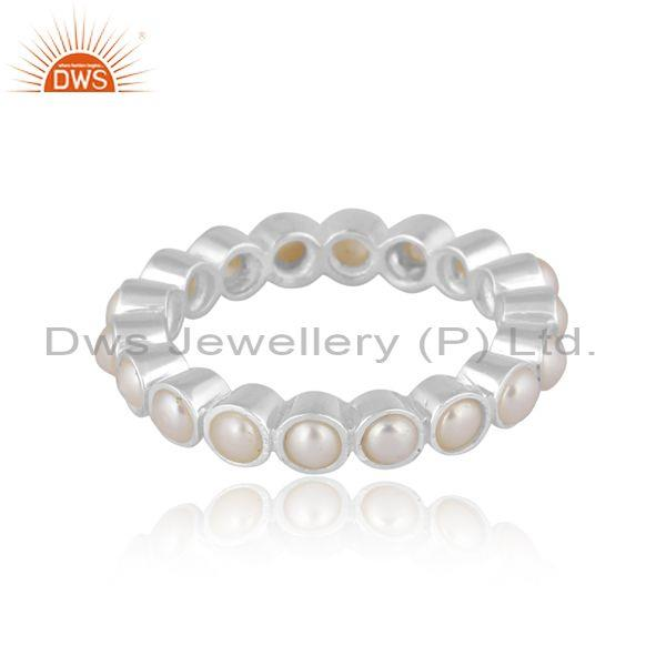 Pearls set fine 925 sterling silver classic band type ring