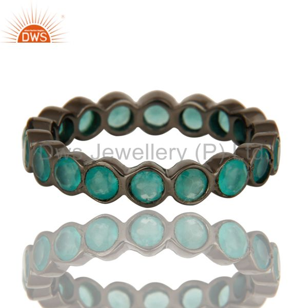 Exporter Black Rhodium Plated Sterling Silver Dyed Aqua Chalcedony Round Eternity Ring