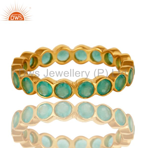 Exporter 14K Yellow Gold Plated Sterling Silver Aqua Green Chalcedony Round Eternity Ring