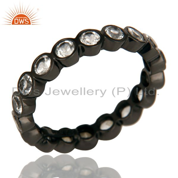 Exporter Black Oxidized 925 Sterling Silver White Topaz Round Eternity Band Ring