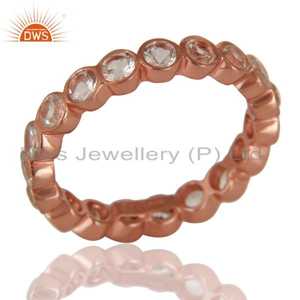 Exporter 14K Rose Gold Plated 925 Sterling Silver White Topaz Round Eternity Ring