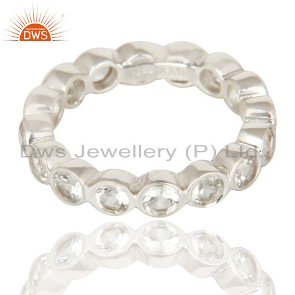 Exporter Handmade Solid 925 Sterling Silver White Topaz Round Eternity Band Ring