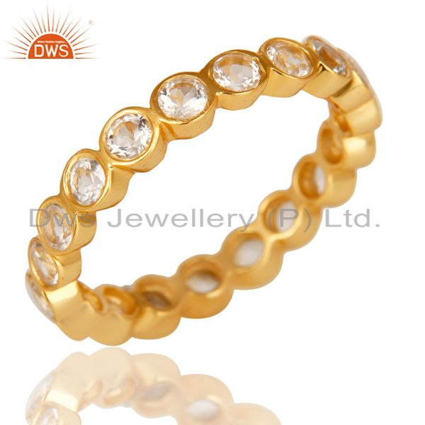 Exporter 14K Yellow Gold Plated 925 Sterling Silver White Topaz Round Eternity Ring