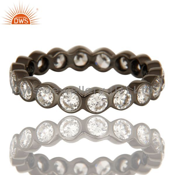 Exporter Round Cut Cubic Zirconia Black Rhodium Plated Sterling Silver Eternity Ring