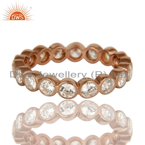 Exporter 3mm Round Cut Cubic Zirconia 18K Rose Gold Plated Sterling Silver Eternity Ring