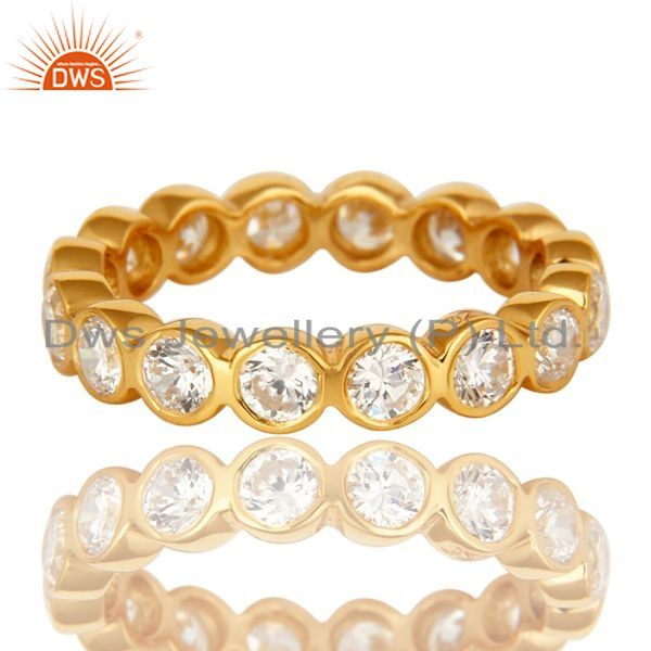 Exporter 14K Yellow Gold Plated Sterling Silver Round Cut Cubic Zirconia Eternity Ring