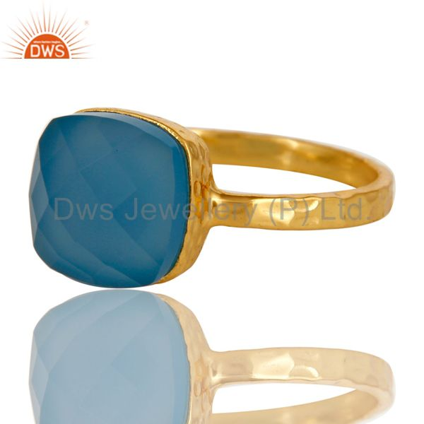 Exporter 14K Yellow Gold Plated Sterling Silver Blue Chalcedony Gemstone Bezel Set Ring