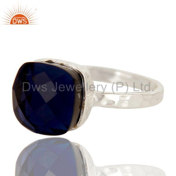 Exporter Handmade Solid Sterling Silver Blue Corundum Gemstone Bezel Set Ring