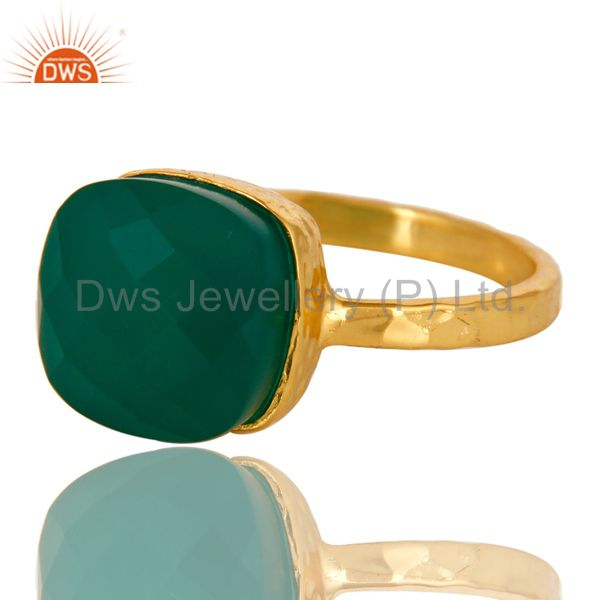 Exporter 22K Yellow Gold Plated Sterling Silver Green Onyx Bezel Set Hammered Band Ring
