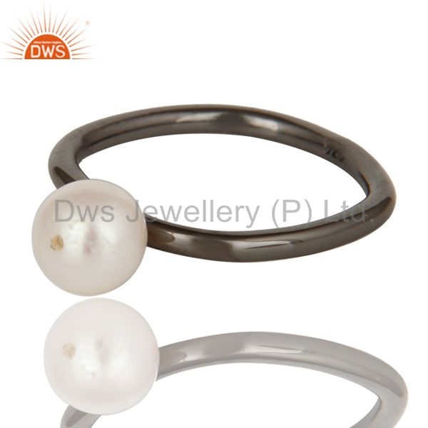 Exporter 925 Sterling Silver With Oxidized Natural White Pearl Stackable Ring