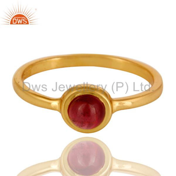 Exporter 14K Yellow Gold Plated Sterling Silver Garnet Gemstone Stacking Ring