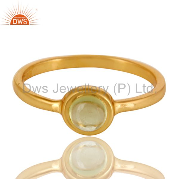 Exporter Shiny 14K Yellow Gold Plated Sterling Silver Peridot Gemstone Stacking Ring