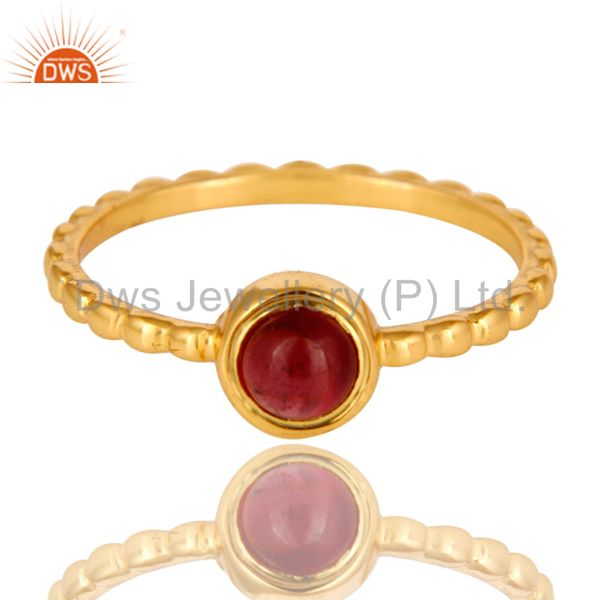 Exporter Shiny 14K Yellow Gold Plated Sterling Silver Garnet Gemstone Stackable Ring
