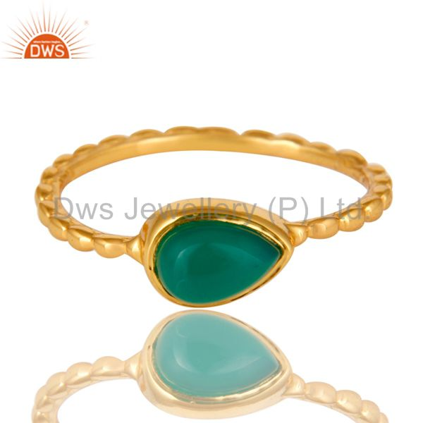 Exporter 14K Yellow Gold Plated Sterling Silver Green Onyx Hammered Stacking Ring