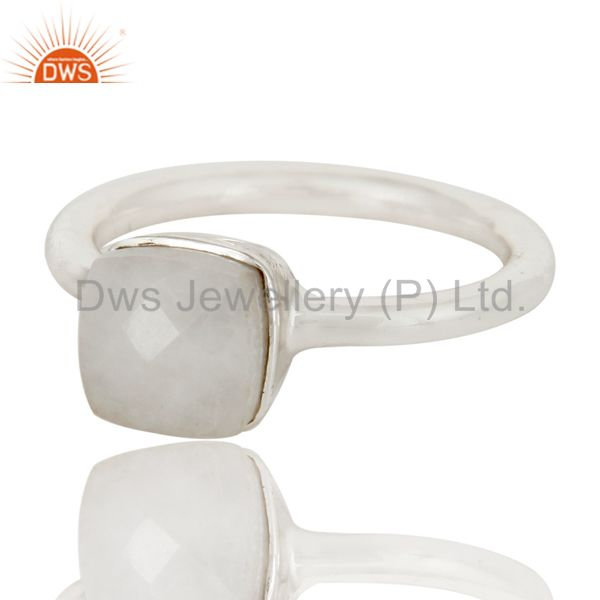 Exporter Handmade 925 Sterling Silver White Agate Gemstone Stackable Ring