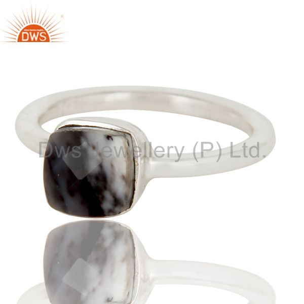 Exporter Handmade Sterling Silver Dendritic Opal Gemstone Stackable Ring