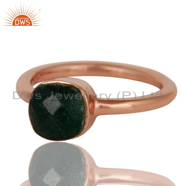 Exporter 18K Rose Gold Plated Sterling Silver Green Jade Gemstone Stackable Ring