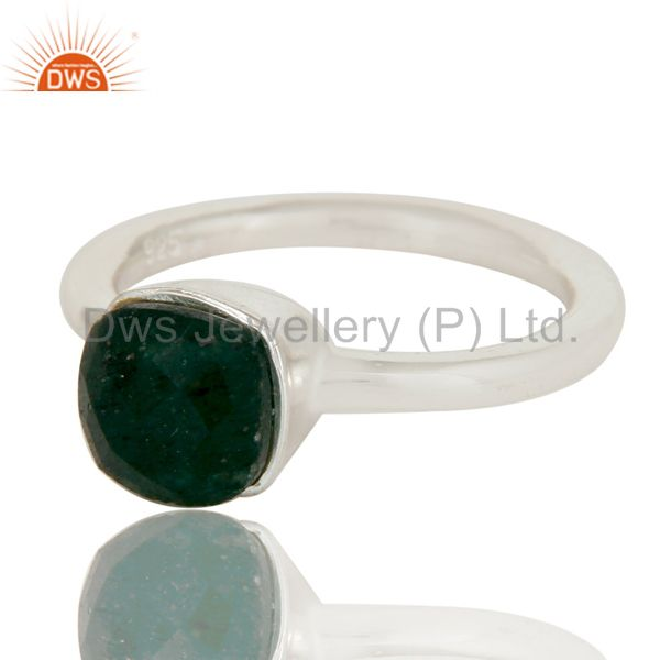 Exporter 925 Sterling Silver Indian Green Jade Gemstone Stackable Ring