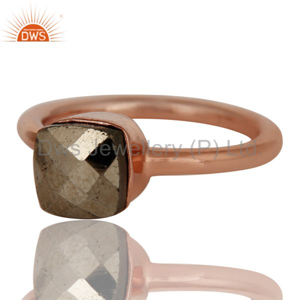 Exporter 18K Rose Gold Plated Sterling Silver Pyrite Gemstone Stackable Ring