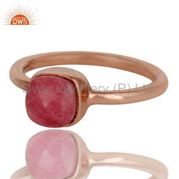 Exporter 18K Rose Gold Plated Sterling Silver Rhodonite Gemstone Stackable Ring