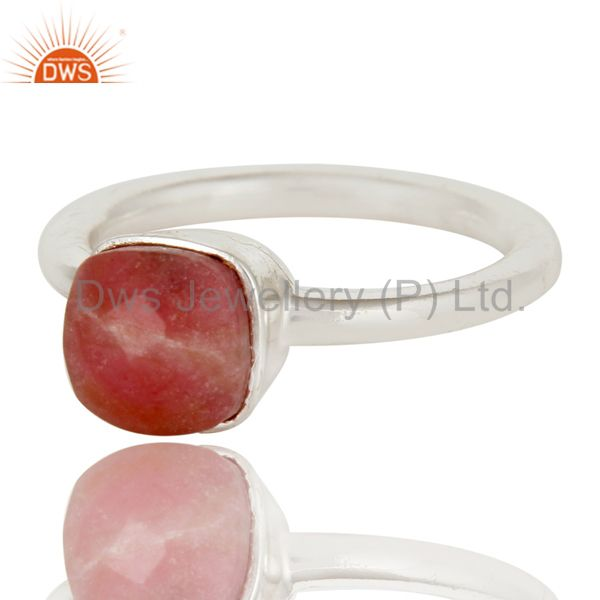 Exporter Handmade 925 Solid Sterling Silver Rhodonite Gemstone Stackable Ring