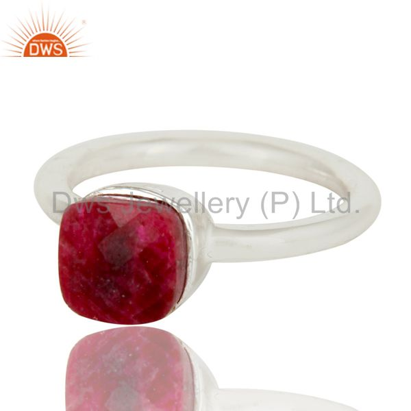 Exporter 925 Solid Sterling Silver Natural Ruby Gemstone Stackable Ring