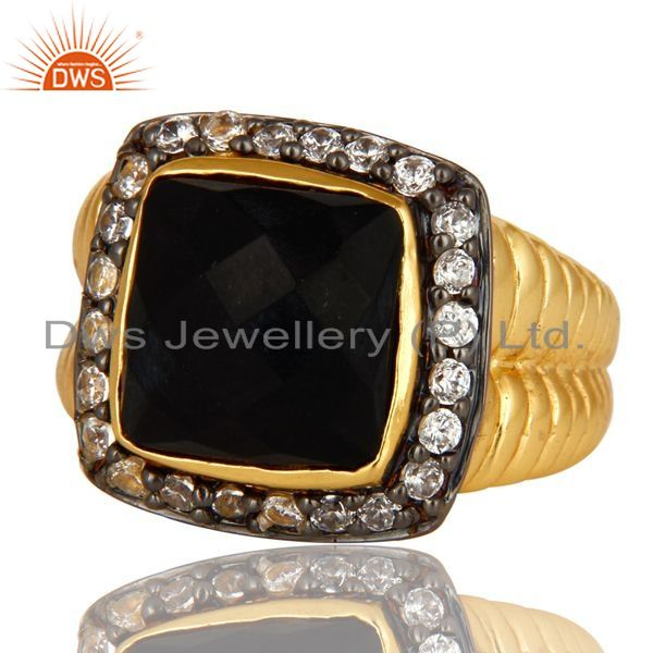 Exporter Shiny 14K Yellow Gold Plated Sterling Silver Black Onyx And CZ Cocktail Ring