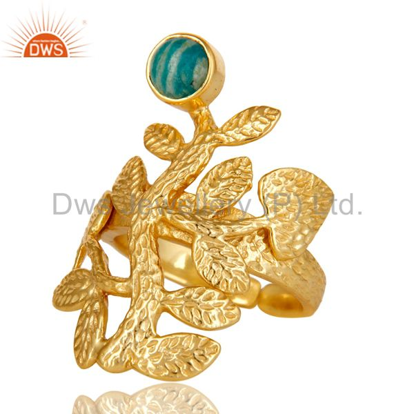Exporter 18K Yellow Gold Plated Sterling Silver Amazonite Textured Floral Designer Ring