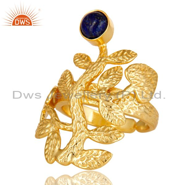 Exporter 14K Yellow Gold Plated Sterling Silver Lapis Lazuli Textured Floral Design Ring