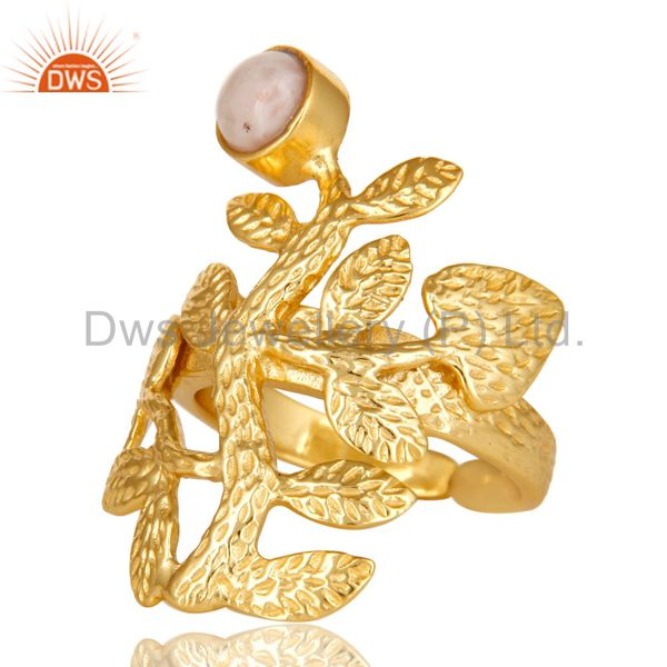 Exporter 14K Yellow Gold Plated Sterling Silver Pink Opal Textured Floral Designer Ring