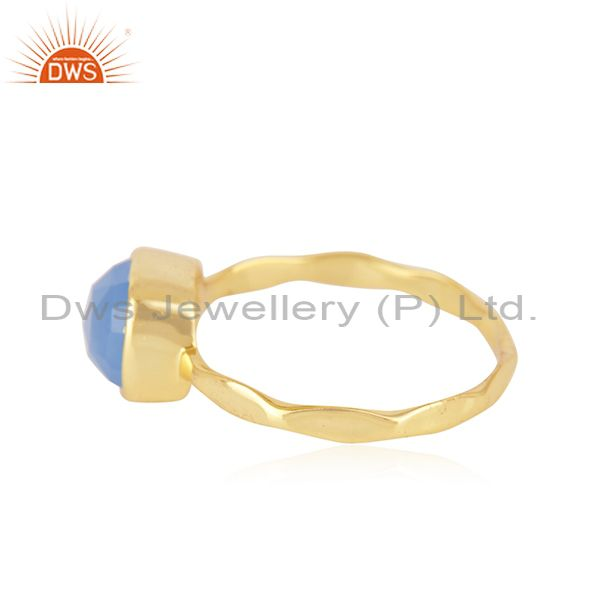 Exporter Hand Hammered Gold Plated Brass Fashion Gemstone Ring Manufacturer