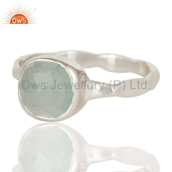 Exporter Aqua Chalcedony Solid Sterling Silver Stackable Ring
