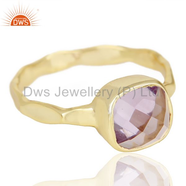 Exporter Natural Amethyst Cushion Shape Studded Gold Plated Hammered Silver Ring
