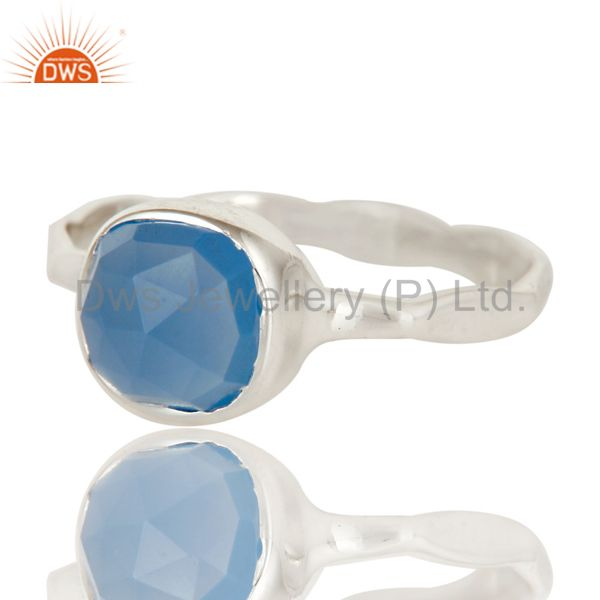 Exporter Blue Chalcedony Solid Sterling Silver Handmade Stackable Ring