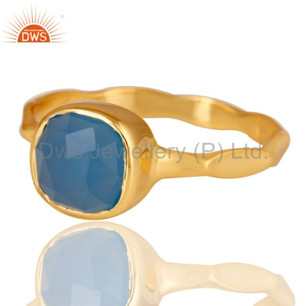 Exporter Blue Chalcedony Sterling Silver 18K Yellow Gold Plated Stackable Ring