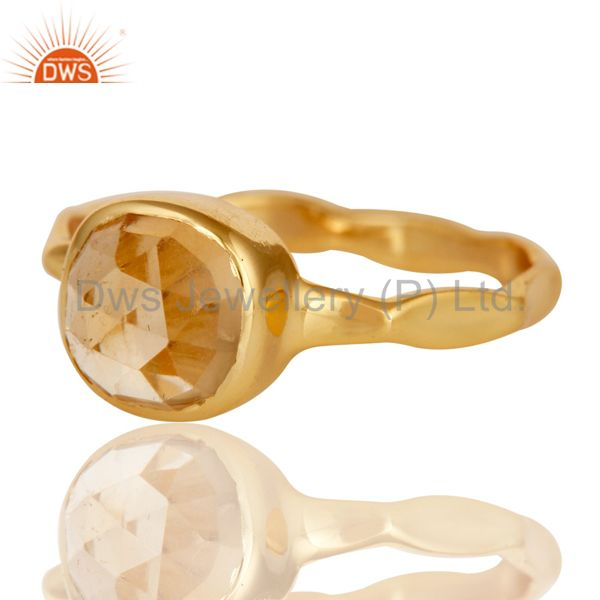 Exporter 18K Yellow Gold Plated Citrine Gemstone Sterling Silver Stackable Ring
