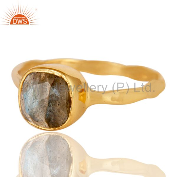 Exporter Natural Labradorite Sterling Silver 18K Yellow Gold Plated Stackable Ring