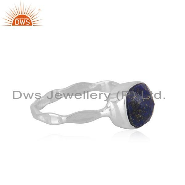 Exporter Natural Lapis Gemstone Handmade Sterling Silver Ring Jewelry For Girls