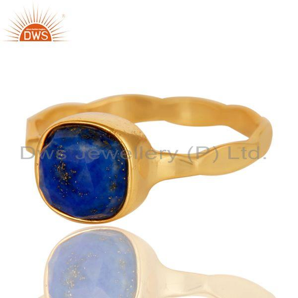 Exporter Sterling Silver Lapis Lazuli 18K Yellow Gold Plated Stackable Ring Hamdmade Ring
