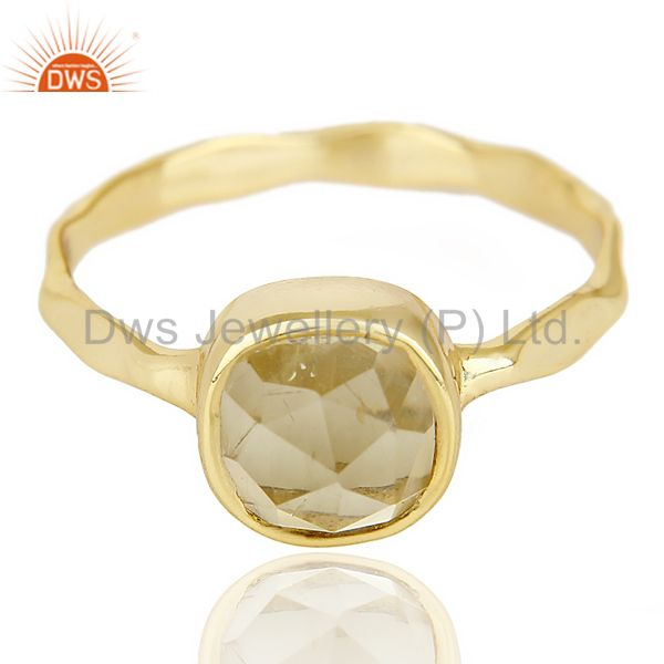 Exporter Lemon Topaz Cushion Shape Studded Gold Plated Hammered Ring  In Solid Silver