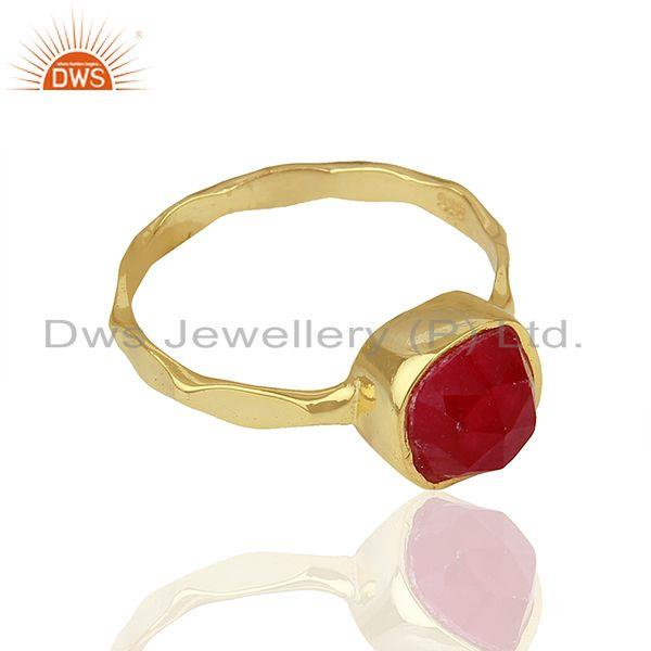 Exporter Red Aventurine Gemstone Gold Plated 925 Silver Girls Ring Supplier