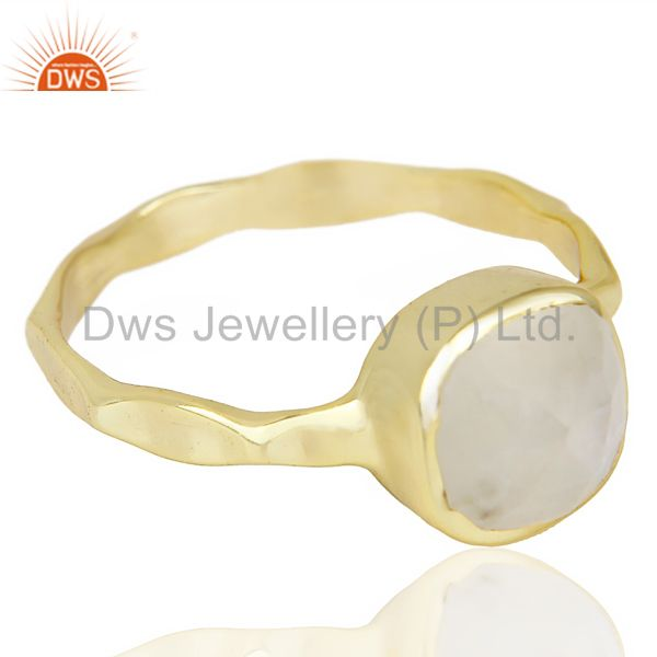 Exporter Natural Rainbowmoon Stone Cushion Shape Gold Plated Hammered Ring  In Silver